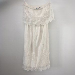 Express White Lace Strapless Dress